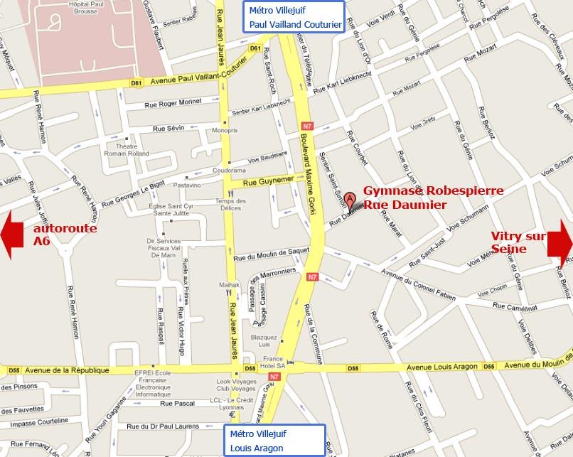 Plan de villejuif voyages cartes for Piscine villejuif